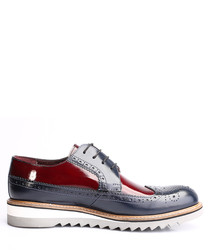 Dark blue & red patent leather shoes