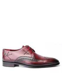 Bordeaux red leather lace-up shoes