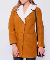 Mustard & white wool blend collared coat