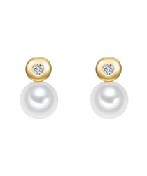 Gold-plated & white pearl stud earrings