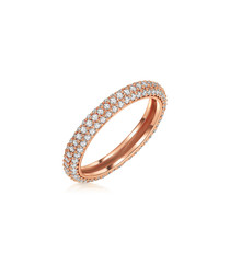 Rose gold-plated & clear detail ring