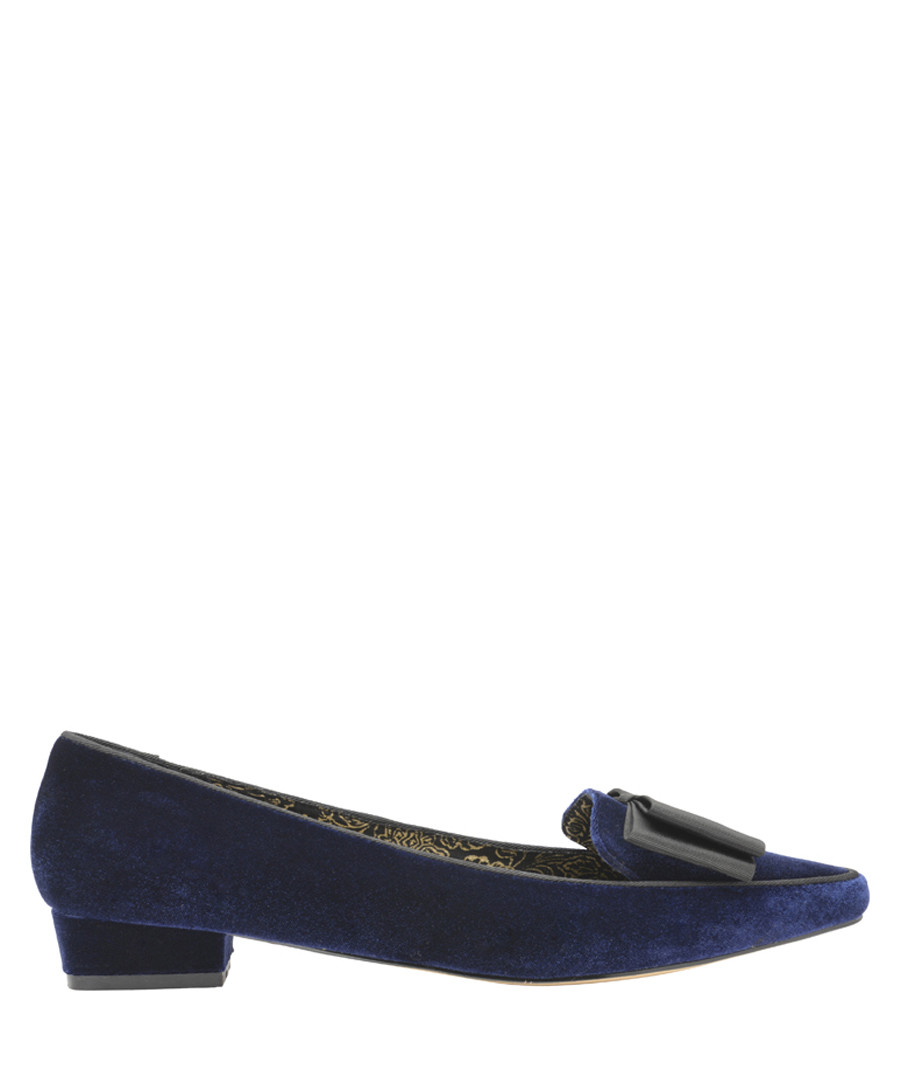 Navy bow detail moccasins  Sale - ravel