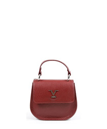 Red leather textured cross body bag