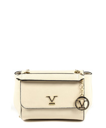 Beige & gold-tone logo shoulder bag