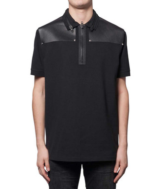 8ef01974 Black cotton & leather trim polo shirt Sale - Givenchy Sale