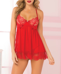 2pc Bed Of Roses red mesh babydoll set