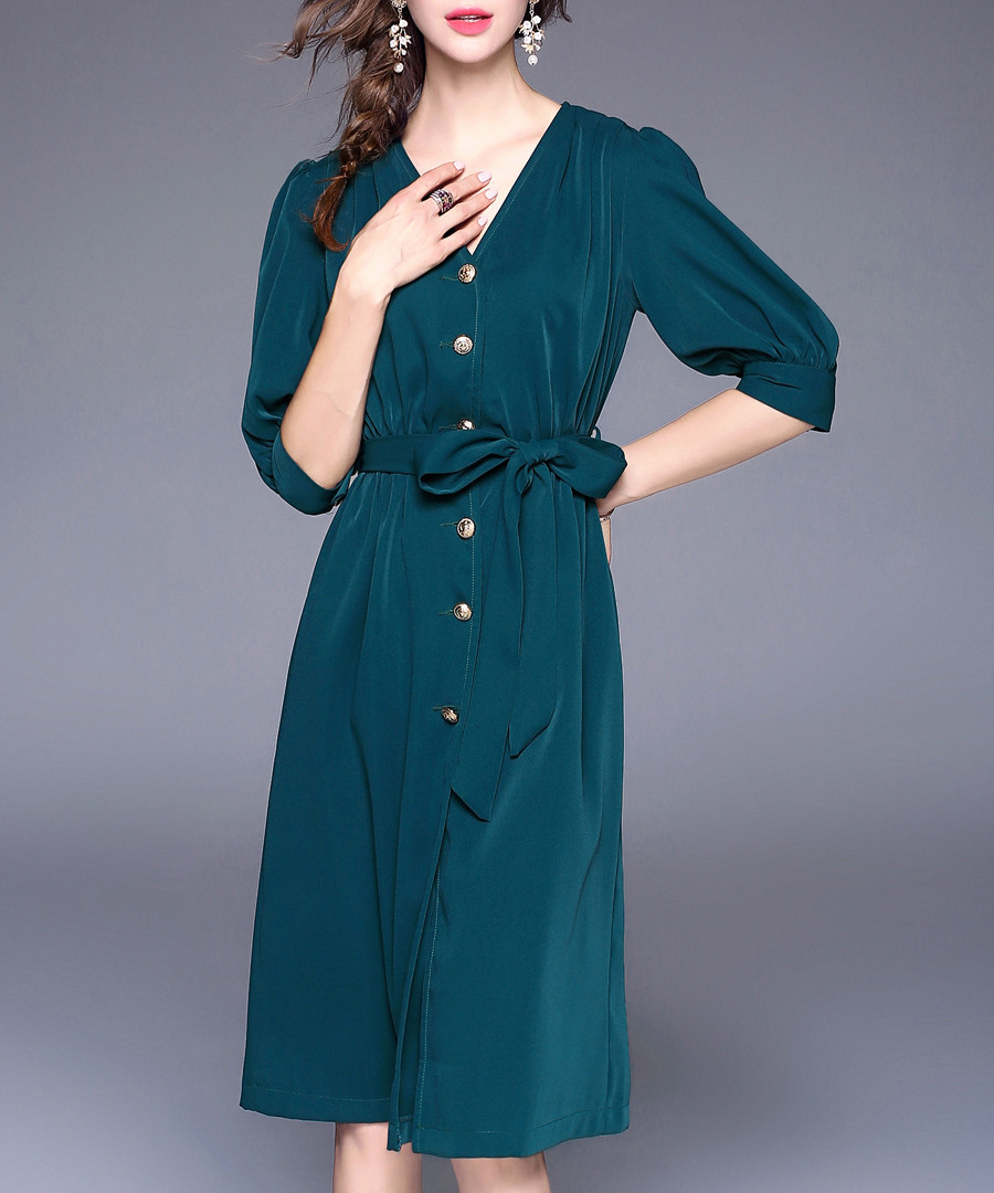 c867da9c92c0 Dark green button-up V-neck midi dress Sale - kaimilan ...