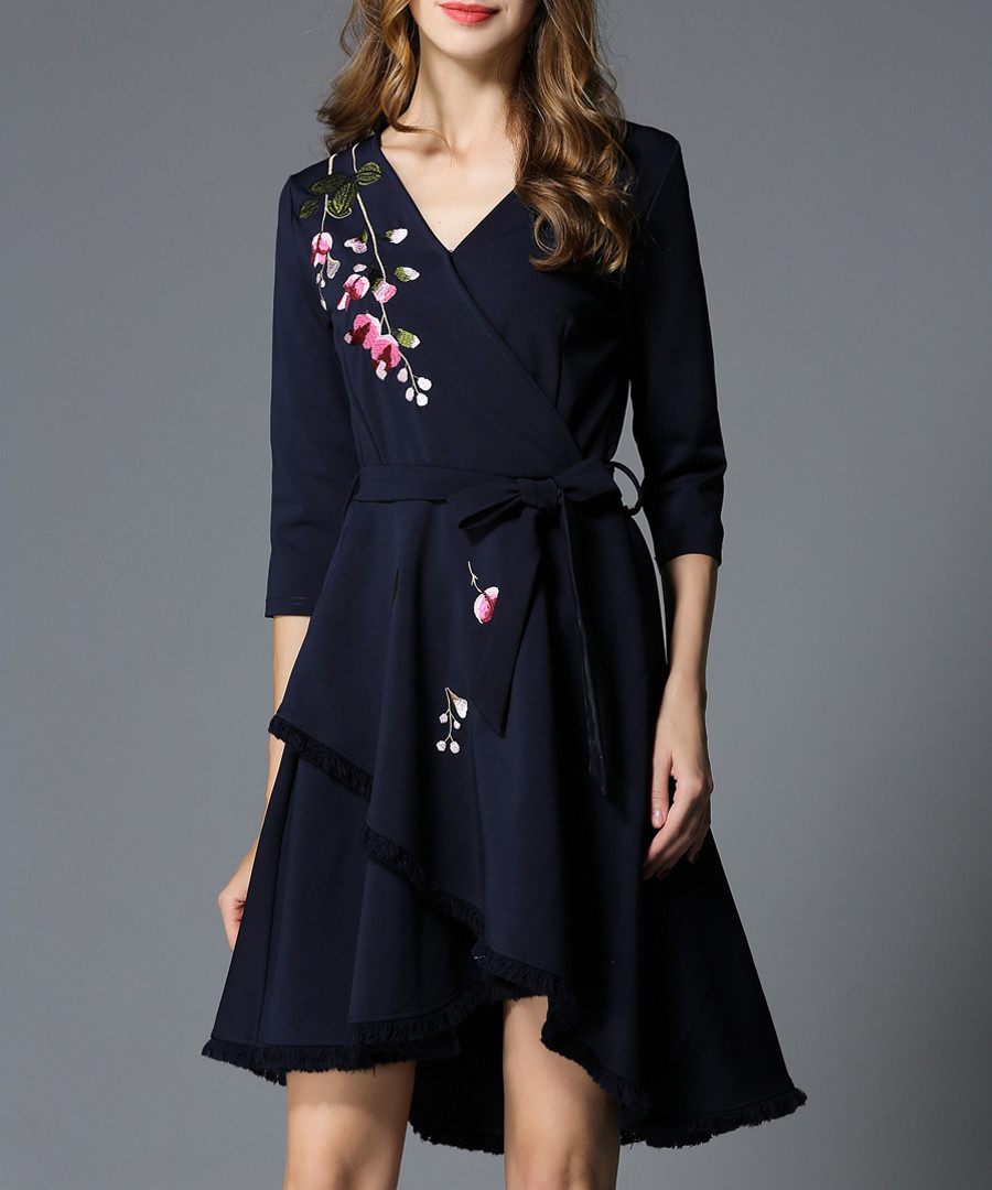 Navy floral embroidered wrap dress Sale - Kaimilan