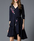 Navy floral embroidered wrap dress Sale - Kaimilan Sale