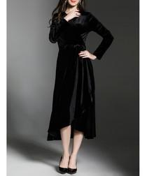Black long sleeve wrap midi dress