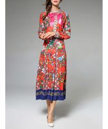 Multi-coloured patterned bow midi dress