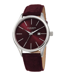 Silver-tone & red leather watch