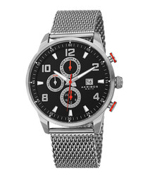 Silver-tone & black dial mesh watch