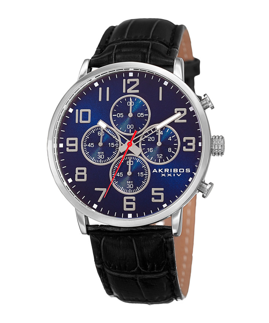 Silver-tone & blue dial leather watch Sale - akribos XXIV