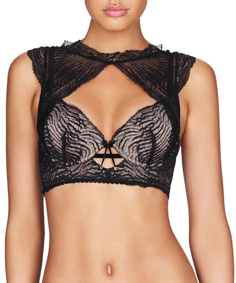 Black striped mesh push up bra Sale - Pleasure State - Couture