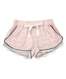 Pink pure cotton lace trim pyjama shorts
