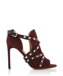 Women's Rockstud red suede wrap heels