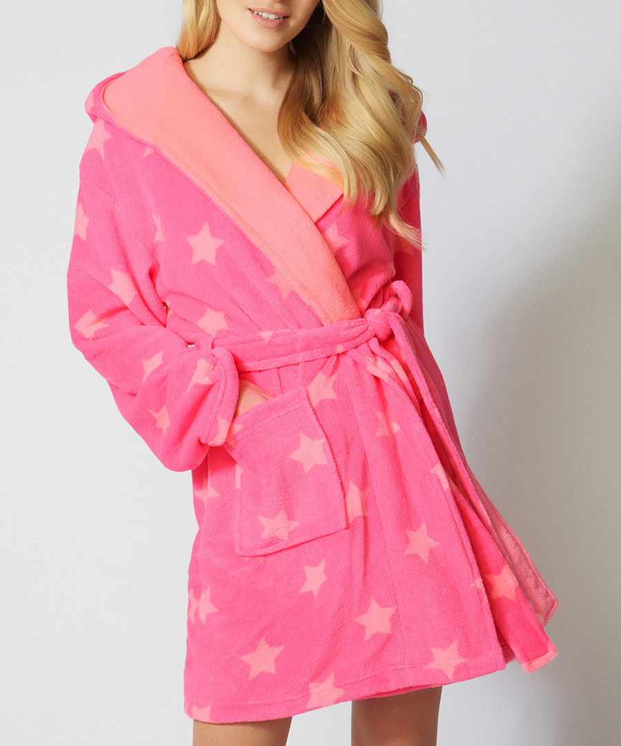 Discount Coral Pink Star Fleece Dressing Gown Secretsales