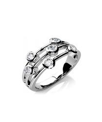 18ct white gold & diamond tier ring