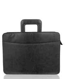 Black leather folio briefcase
