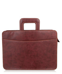 Burgundy leather folio briefcase