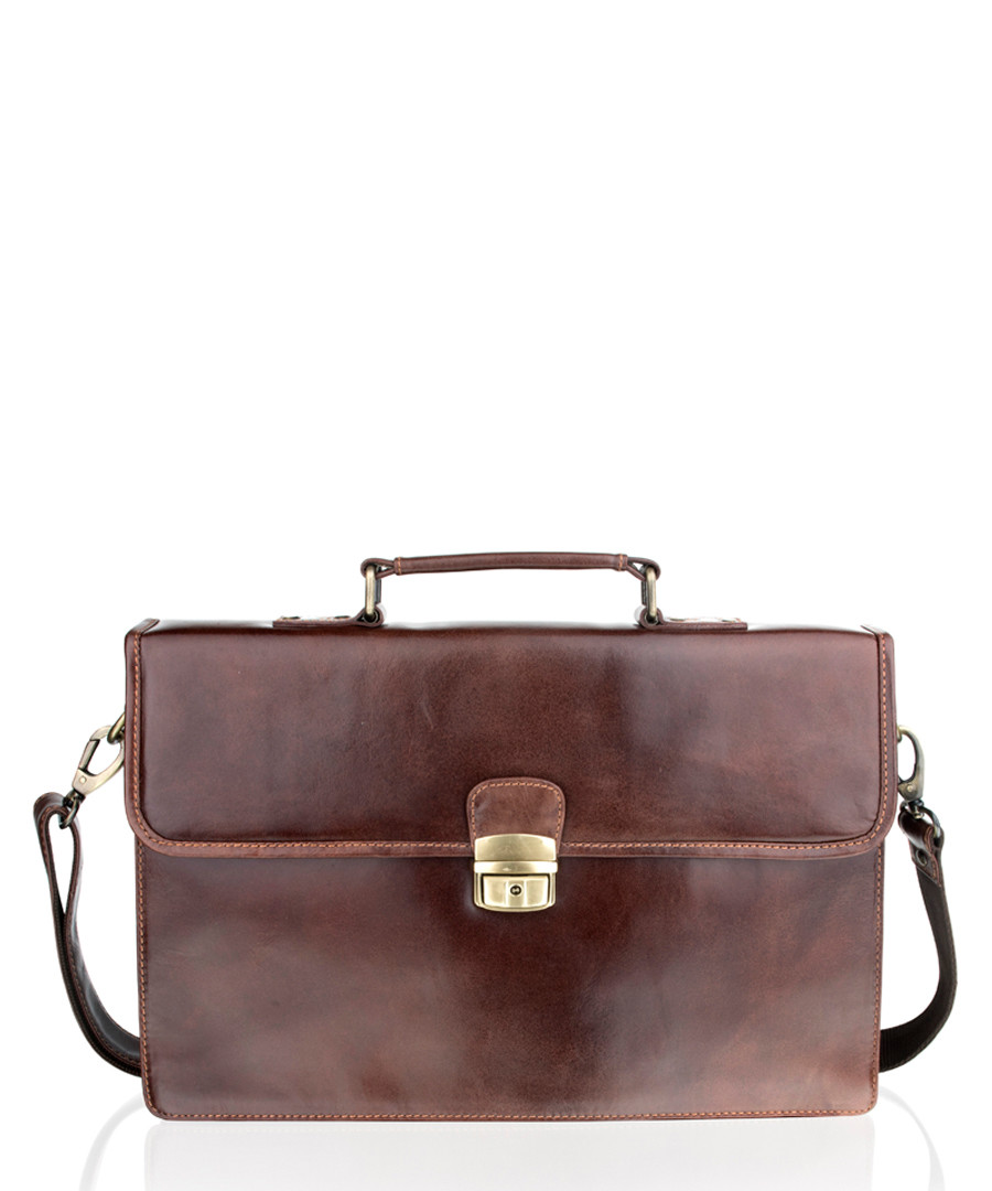 Brown leather satchel briefcase Sale - woodland leather