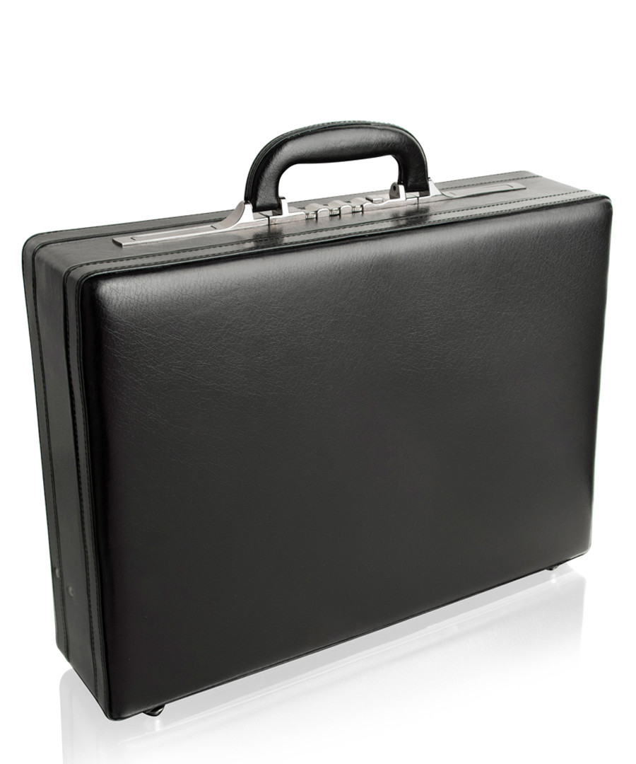 Black leather clasp lock briefcase Sale - woodland leathers