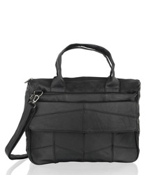 Black leather padded briefcase