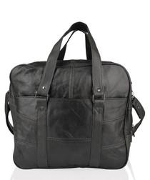 Black leather front pocket briefcase