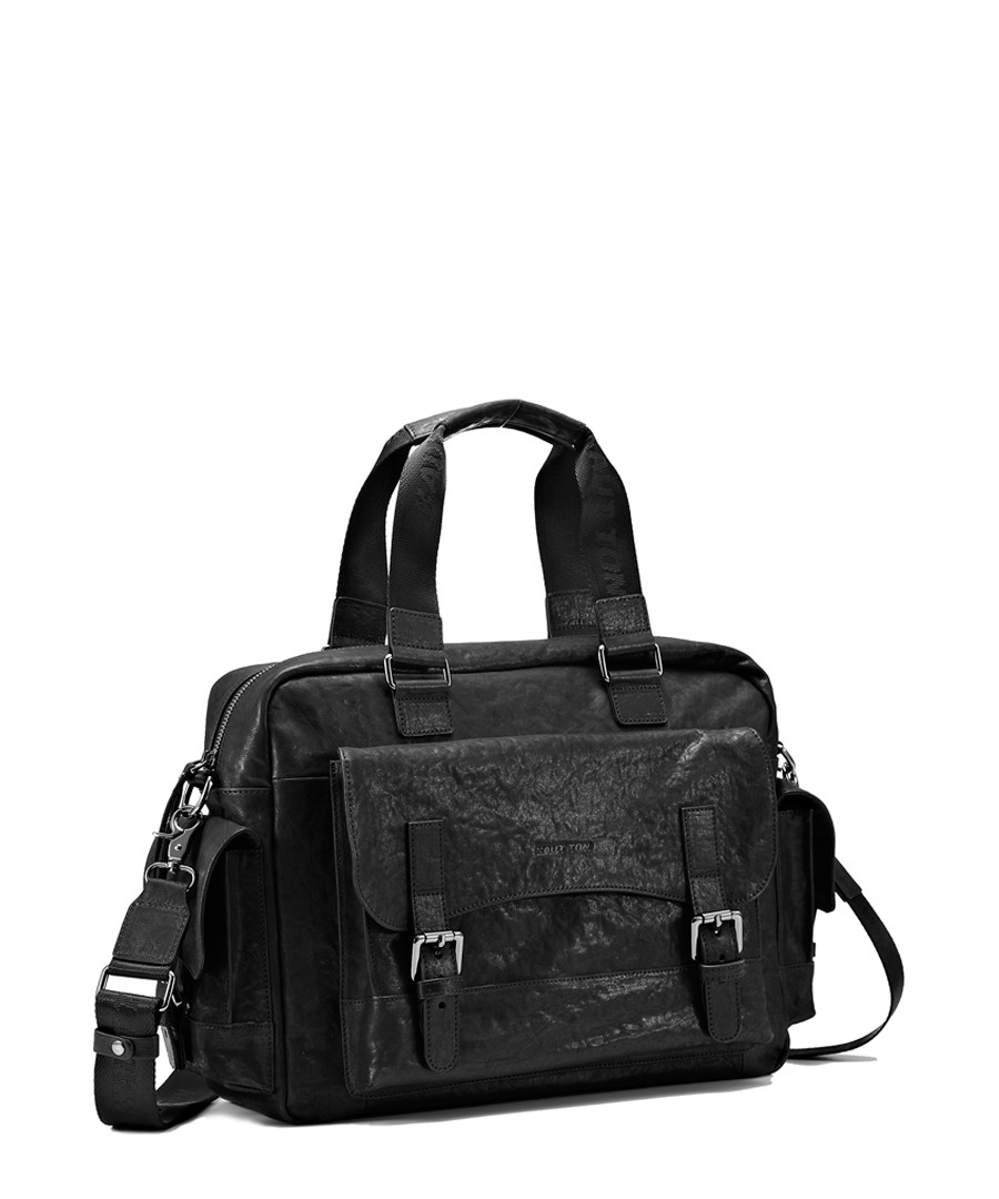 Black leather buckle detail briefcase Sale - hautton