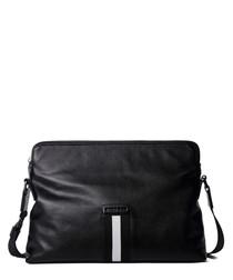 Black leather stripe shoulder bag