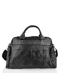 Black leather pouch pocket holdall
