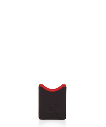 Black & red leather flat card holder