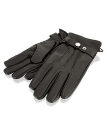 Brown leather strap gloves