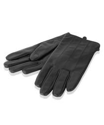 Black leather stitch gloves