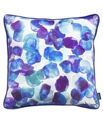 Spectrum blue velvet printed cushion