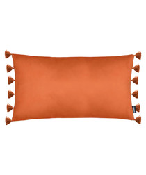 Majestic orange velvet tassel cushion