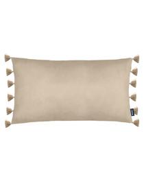 Majestic natural velvet tassel cushion