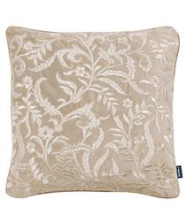 Silhouette natural velvet floral cushion