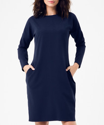 Navy long sleeve knee length dress
