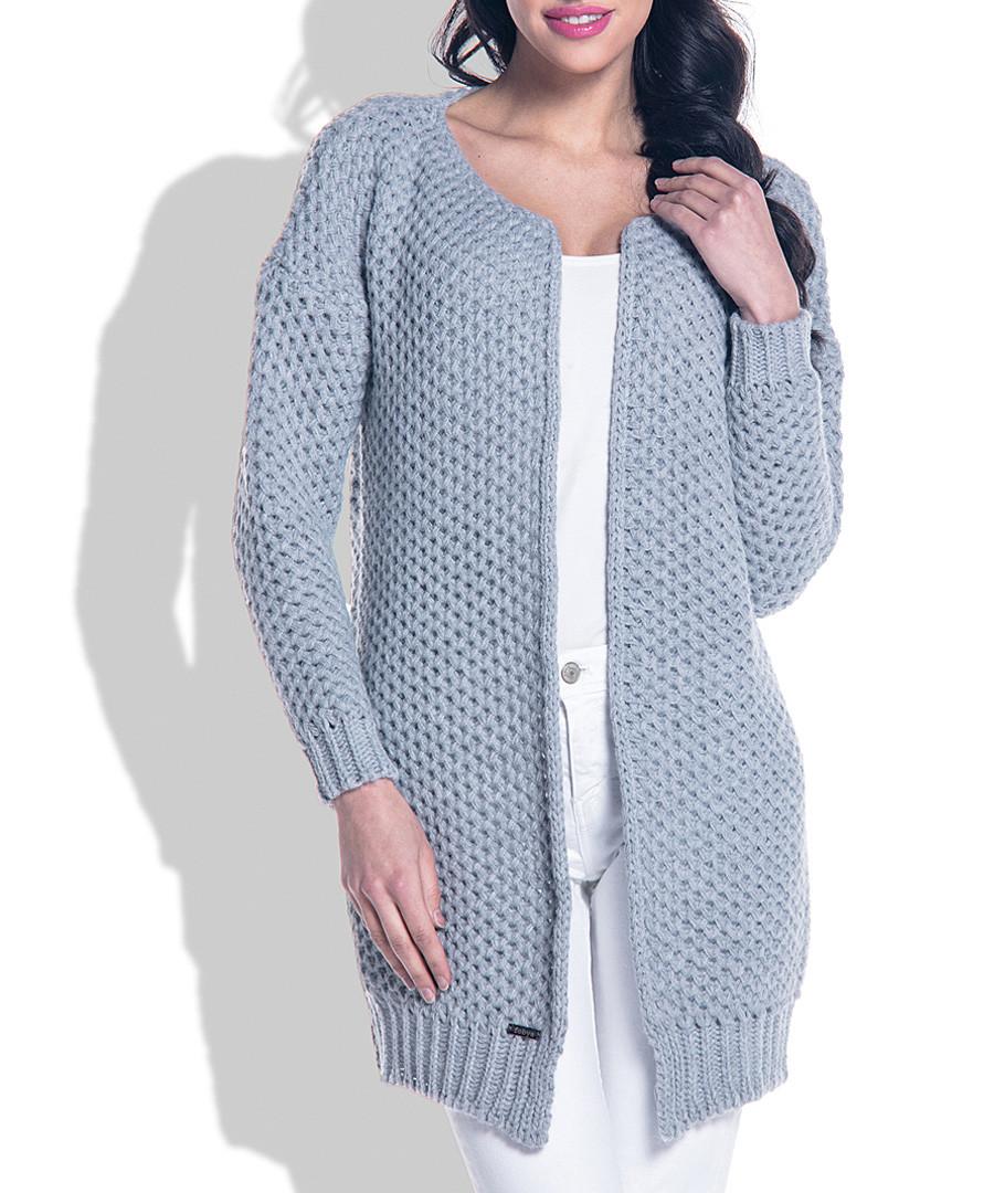 Grey wool blend knit cardigan Sale - fobya