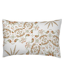 Taupe patterned cotton pillowcase 50cm