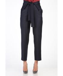 Dark blue high waist tie-up trousers