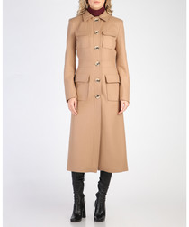 Camel wool blend button up coat