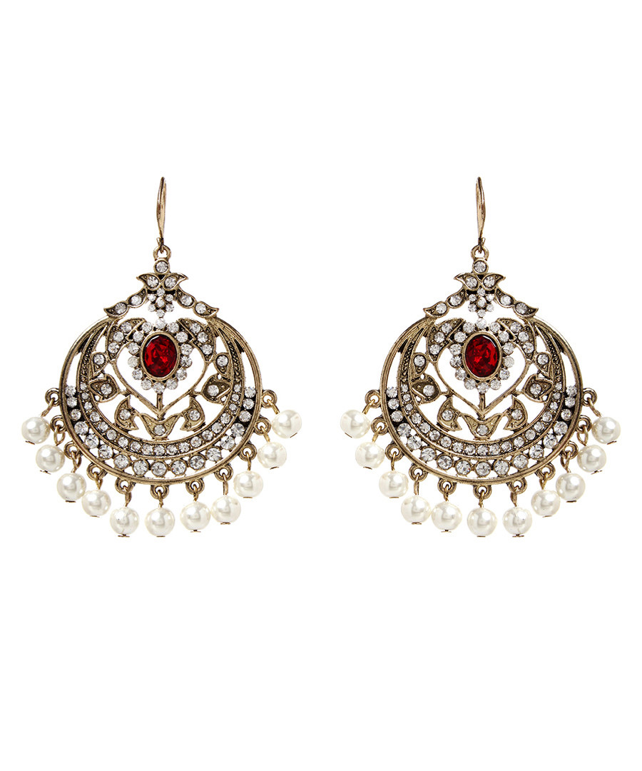 Gayatri ruby & gold-tone earrings Sale - amrita singh