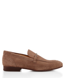 Navarre taupe suede horsebit loafers
