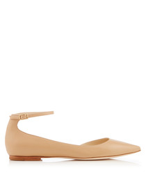 Lucy nude leather strap flats
