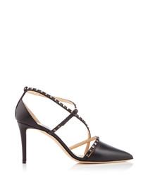 Tiff black leather strappy heels