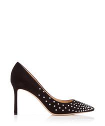 Romy black leather embellished heels