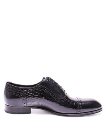 Black leather moc-croc Derby shoes